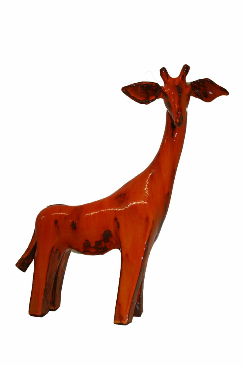 Giraffe Zuberi, céramique émail rouge